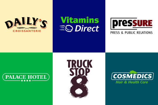 Logos pour Daily's Croissanterie, Vitamins Direct, PRessure, Palace Hotel, Truckstop 8, Paramedics