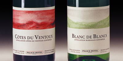 The wine label designs for the Palace Hotel